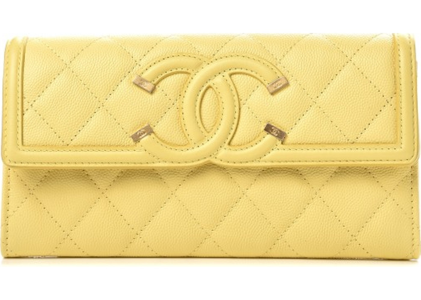 afcf073ae44a Chanel Filigree Flap Wallet Quilted Diamond Small Yellow. Quilted Diamond  Small Yellow