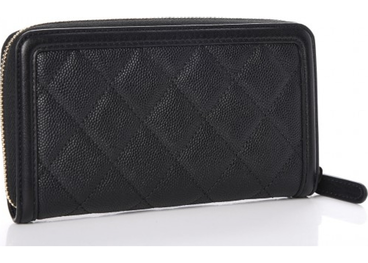 9c9350e2de0d09 Chanel Filigree Zip Around Wallet Quilted Caviar Gold-tone Small Black