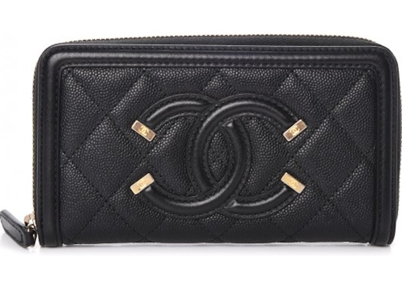 65e31311858c7e Chanel Filigree Zip Around Wallet Quilted Caviar Gold-tone Small Black. Quilted  Caviar Gold-tone Small Black
