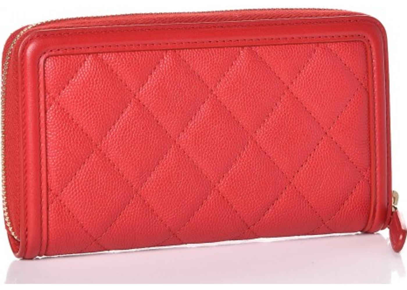 2e8f781c98474f Chanel Filigree Zip Around Wallet Quilted Caviar Gold-tone Small Red