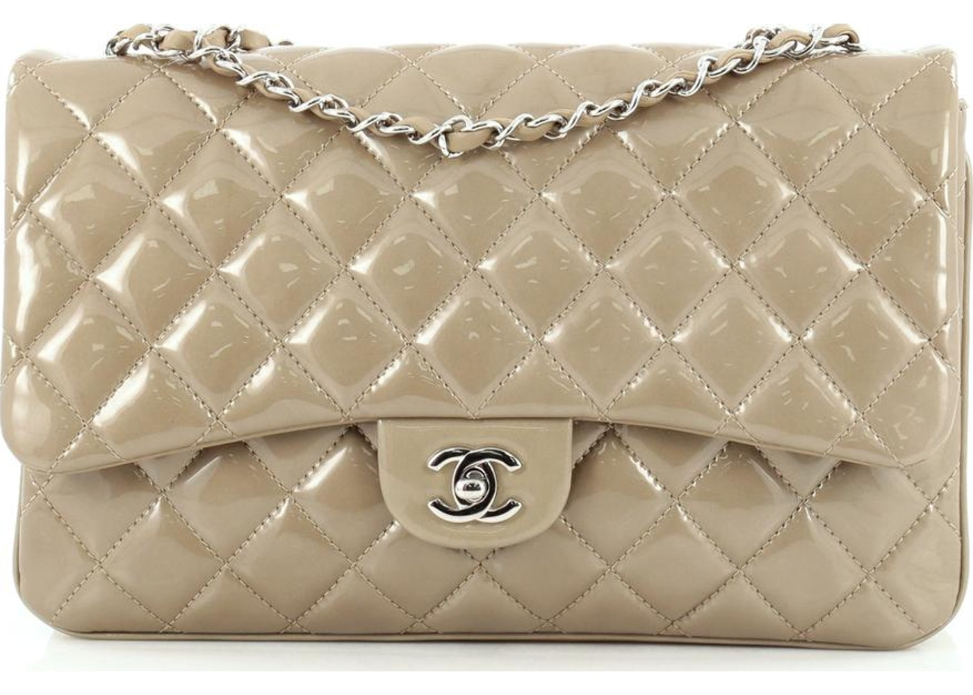 209bcbf90a97 Chanel 3 Bag Flap Quilted Diamond Jumbo Beige