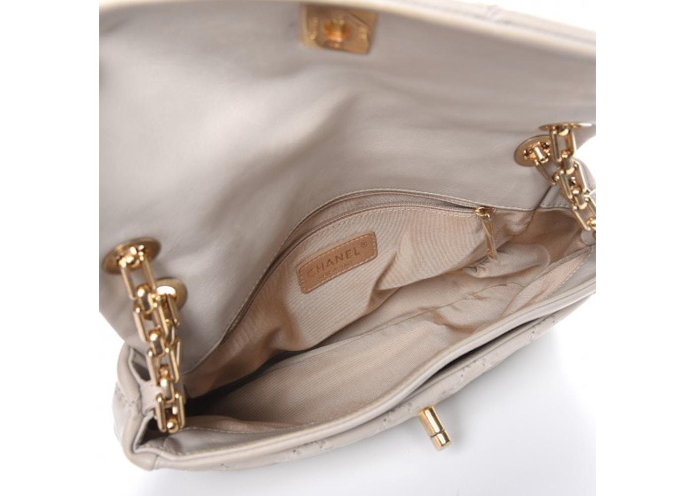 54a0e0492ba577 Chanel Retro Chain Flap Accordion Quilted Diamond Beige