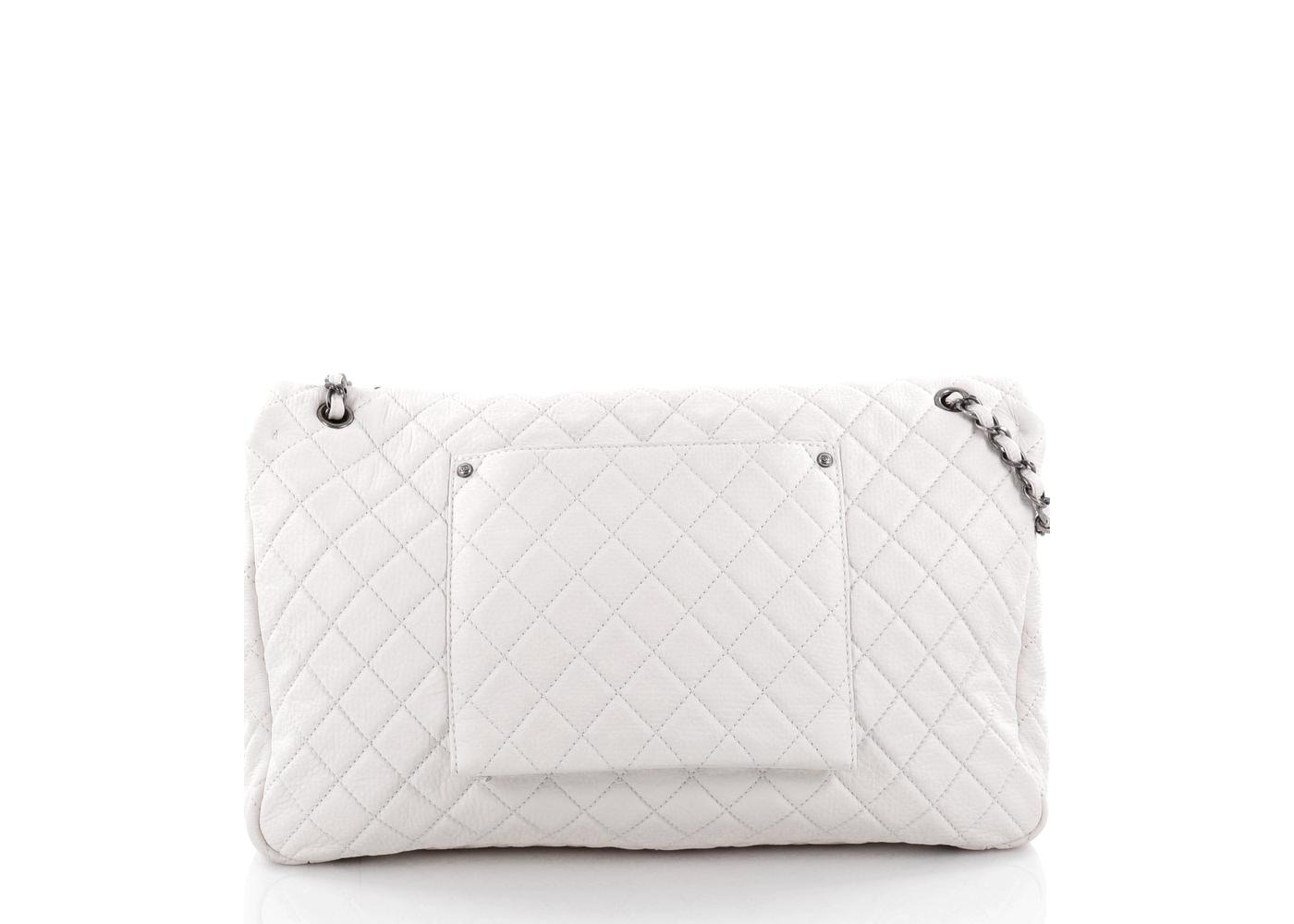 6633bd488a30 Chanel Airlines CC Flap Bag Quilted Diamond XXL Off White
