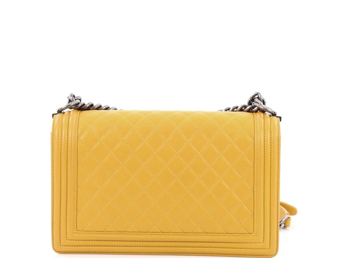 abd2b830f9dadc Chanel Boy Flap Bag Quilted Diamond New Medium Mustard Yellow