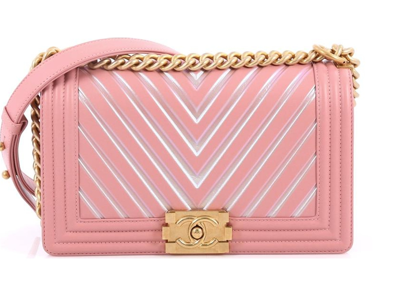 8b775211a02f Chanel Boy Flap Bag Quilted Chevron Painted Old Medium Pink. Quilted Chevron  Painted Old Medium Pink