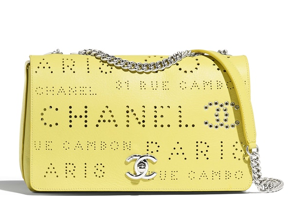 e1ad2140956767 Chanel Flap Bag Perforated Calfskin Silver-tone Yellow