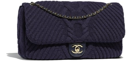Chanel Flap Bag Gold-Tone Navy