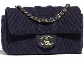 Chanel Flap Bag Knit Navy