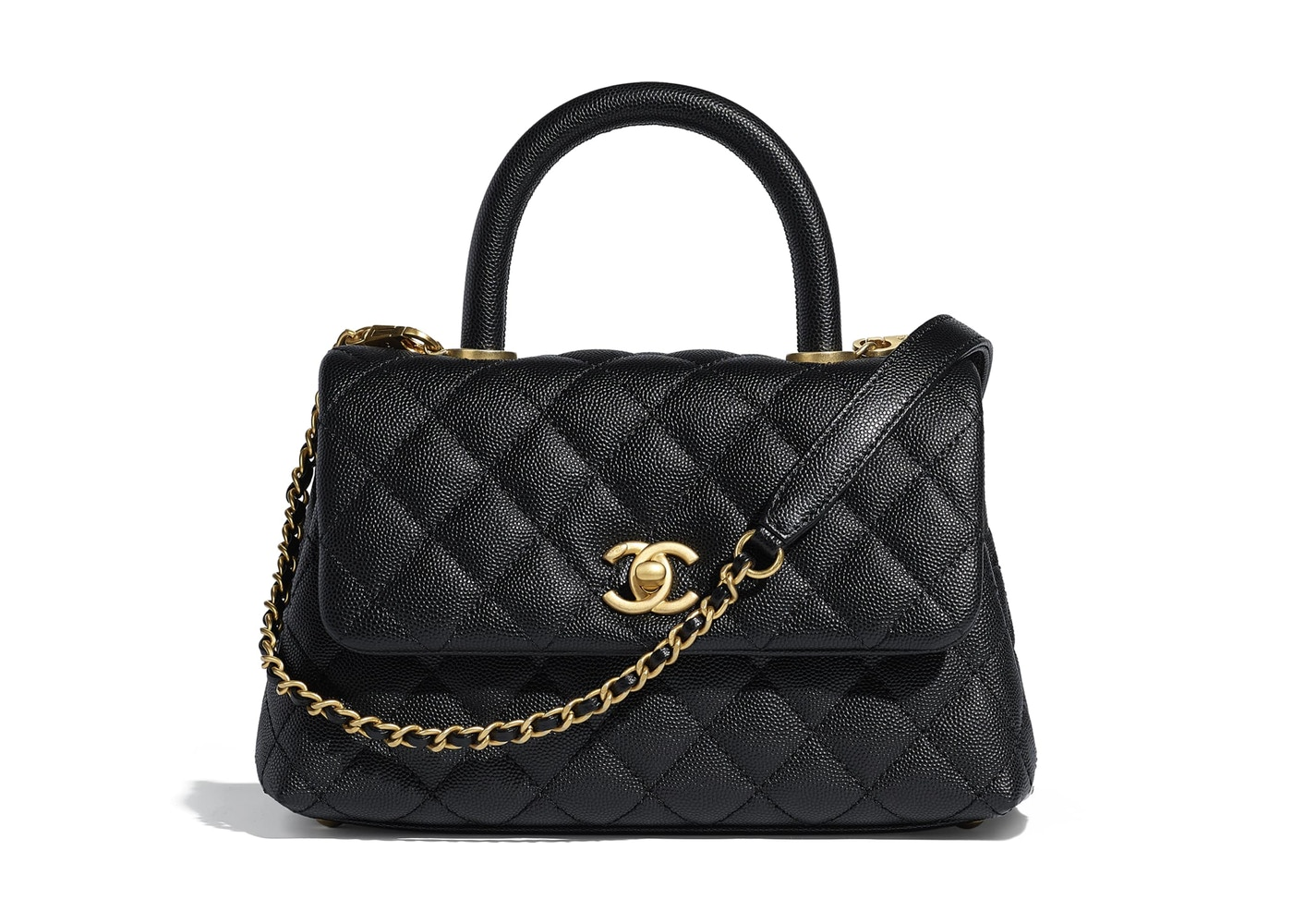 6eb14488112f53 Chanel Flap Bag Top Handle Quilted Grained Calfskin Gold-tone ...