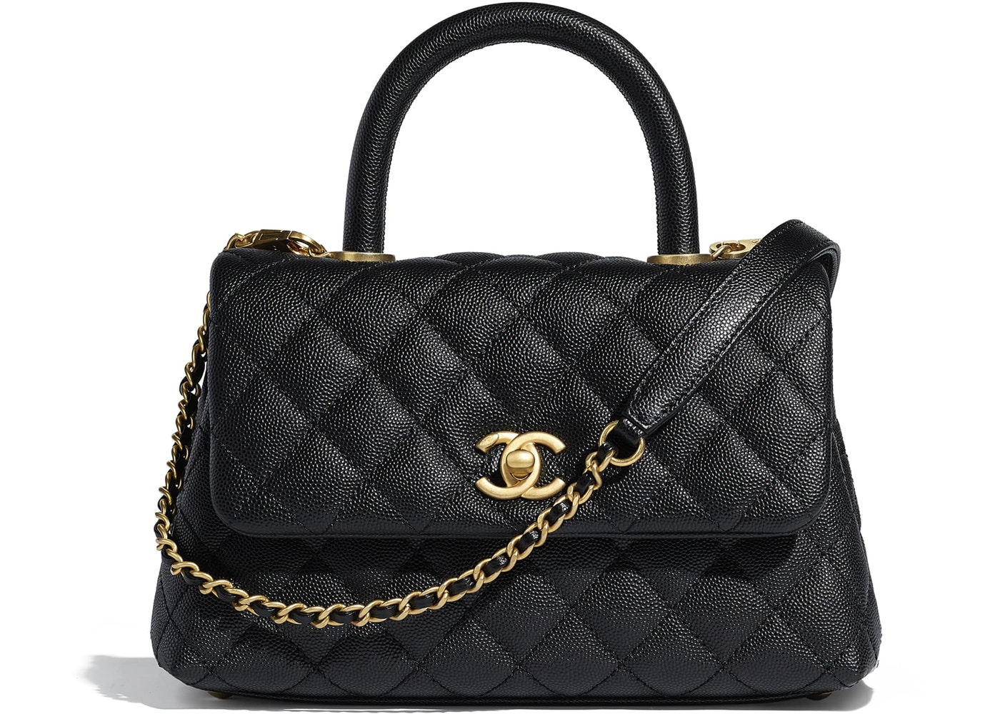 Chanel Flap Bag Top Handle Quilted Grained Calfskin Gold Tone Small Black