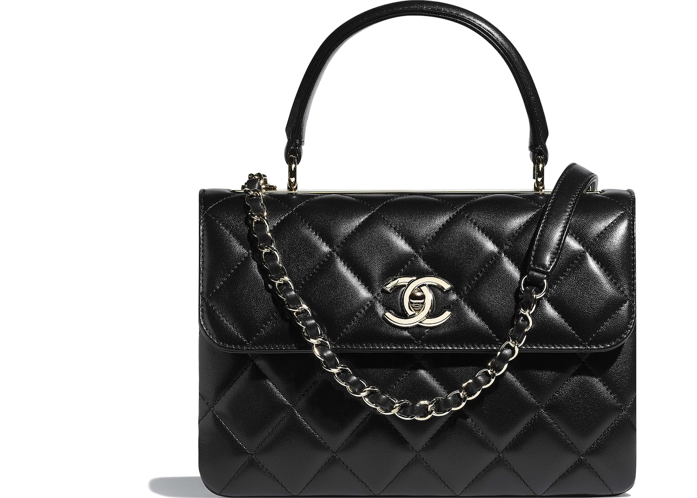 bf63c4bbbef0b Chanel Flap Bag Top Handle Quilted Lambskin Gold-tone Small Black. Quilted  Lambskin Gold-tone Small Black