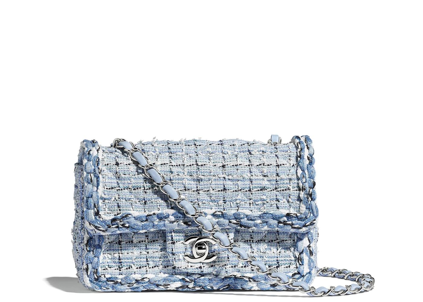 829291d1a452 Chanel Flap Bag Tweed Braid Silver-tone Mini Blue/White