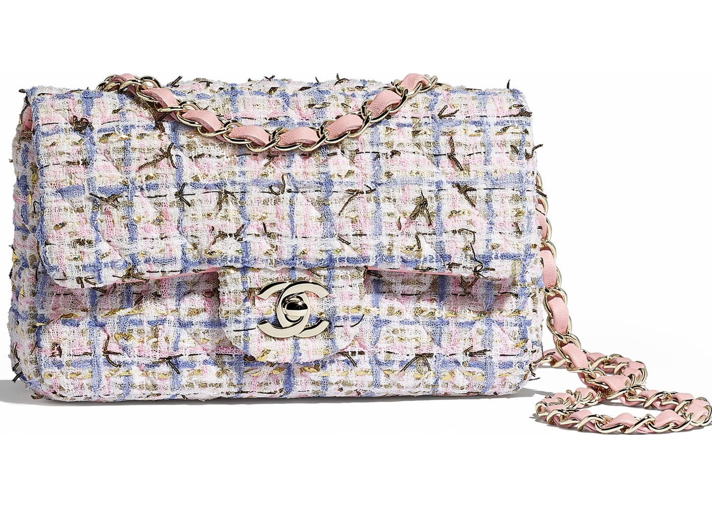 ca6534186e80 Chanel Flap Bag Tweed Gold-tone Mini Blue Pink