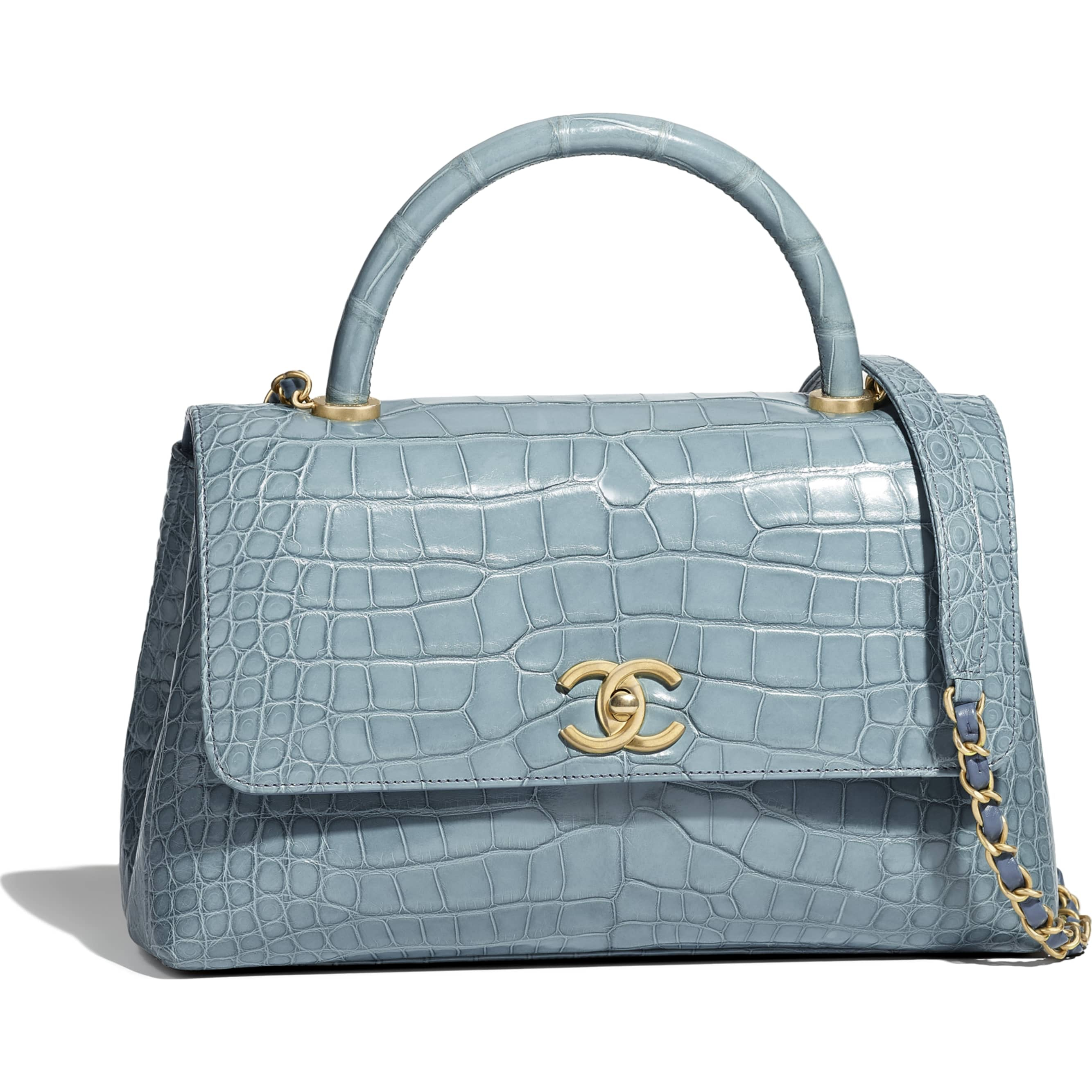Chanel Flap Bag with Top Handle Blue