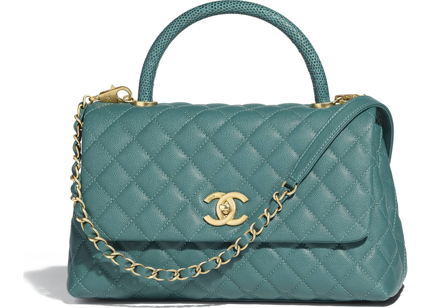 Chanel Flap Bag with Top Handle Green. Green d68383f70f893