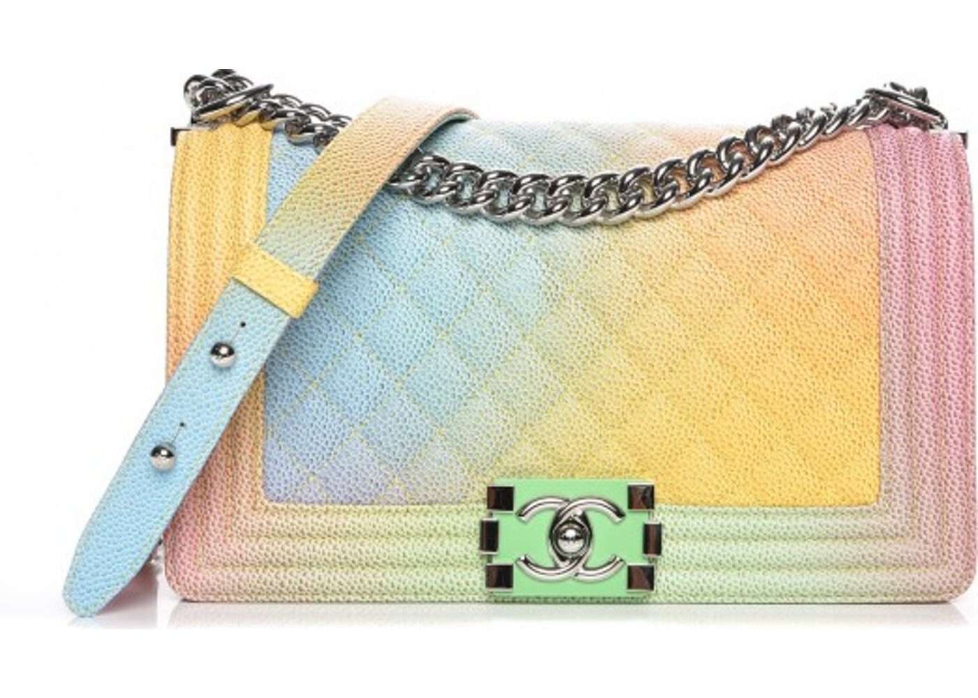 103c0d04585e Chanel Boy Cuba Rainbow Flap Quilted Multicolor Medium Blue/Pink ...