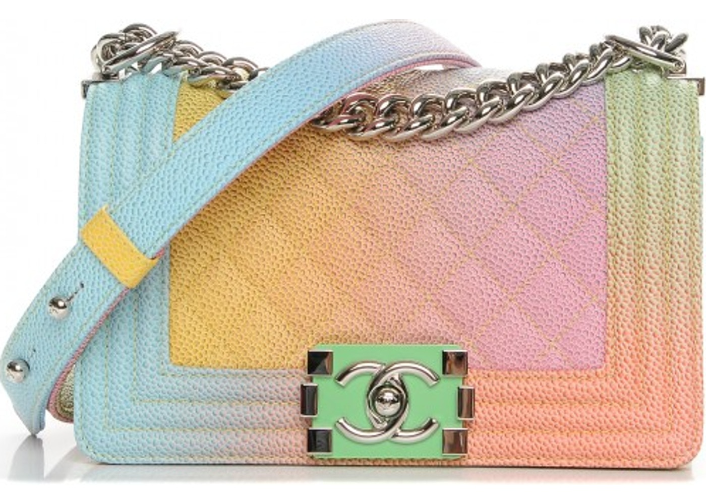 Chanel Cuba Rainbow Flap Boy Quilted Diamond Small Pink Yellow ... 6ab81fd2e5237