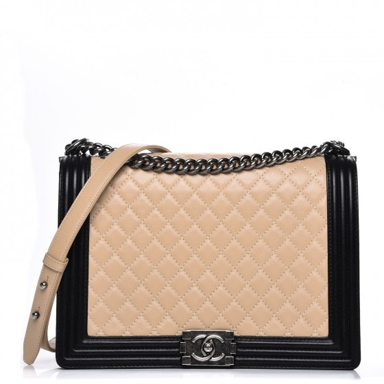 Chanel Boy Flap Quilted Diamond Large Beige/Black