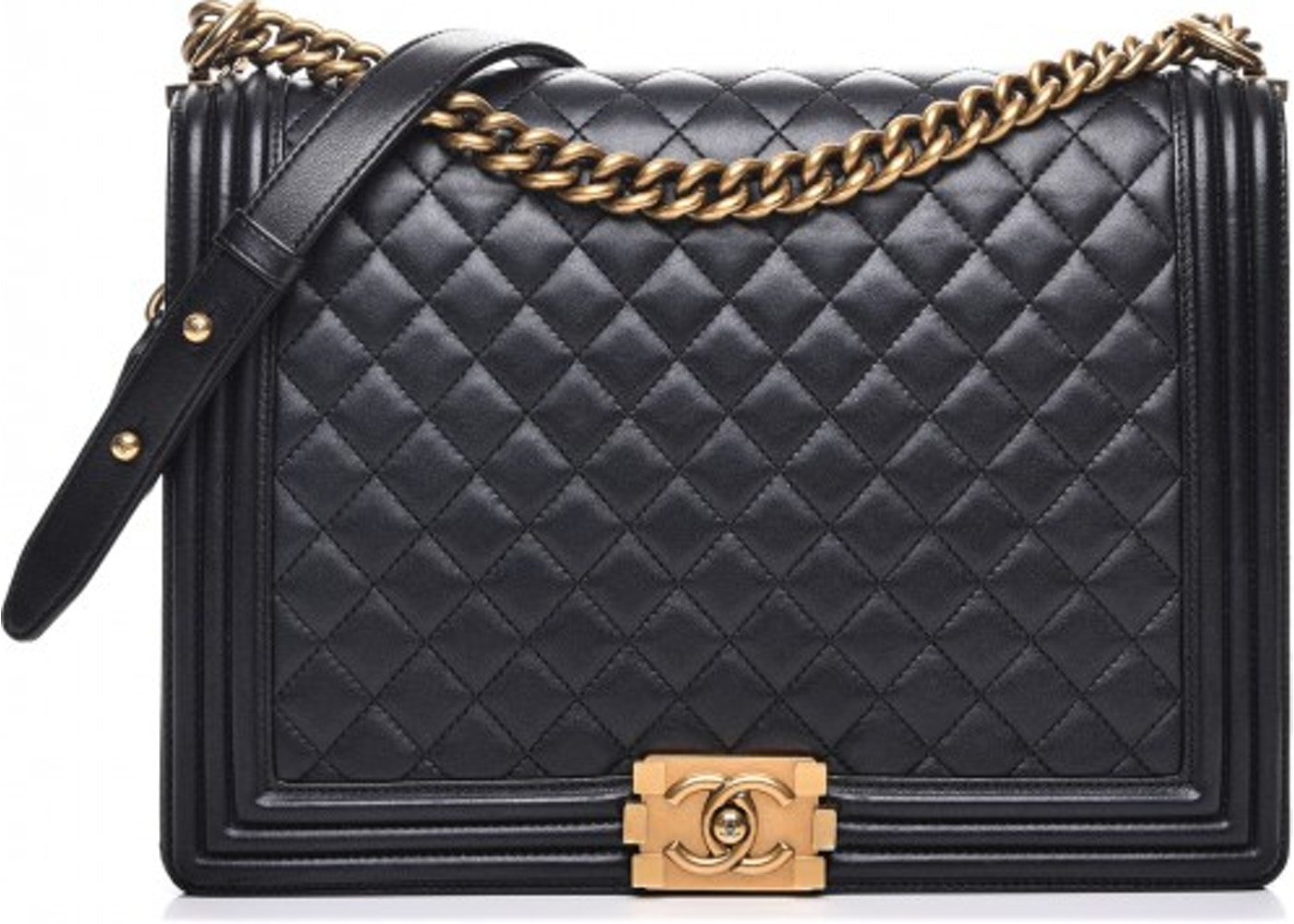 2d7cd31a6b33 Chanel Boy Flap Quilted Diamond Metallic Large Black