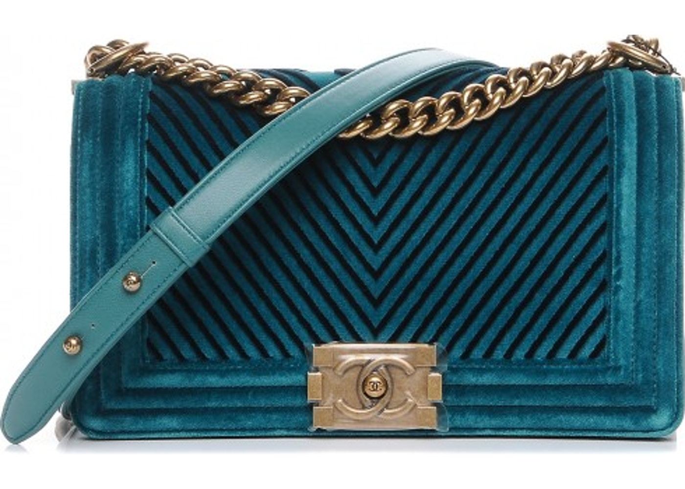 ac7222e21cad Chanel Boy Flap Chevron Velvet Medium Peacock Blue