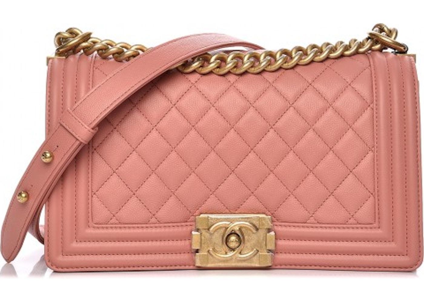 65554874464 Chanel Boy Flap Powder Quilted Diamond Medium Powder Pink