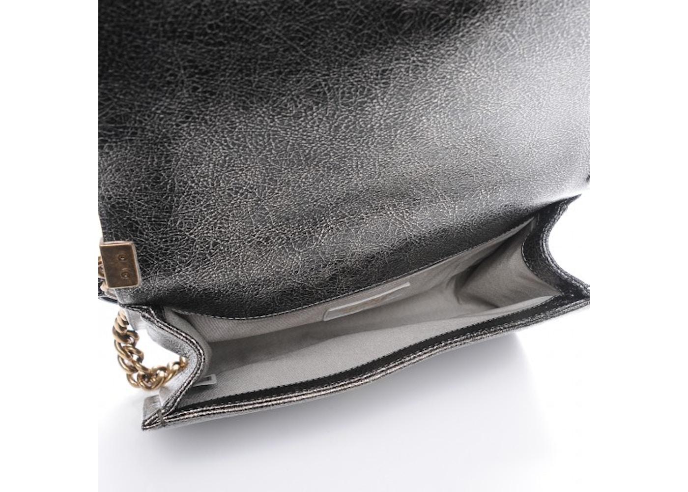 3efce58700d4 Chanel Boy Flap Quilted Diamond Cracked Metallic Calfskin Medium Silver
