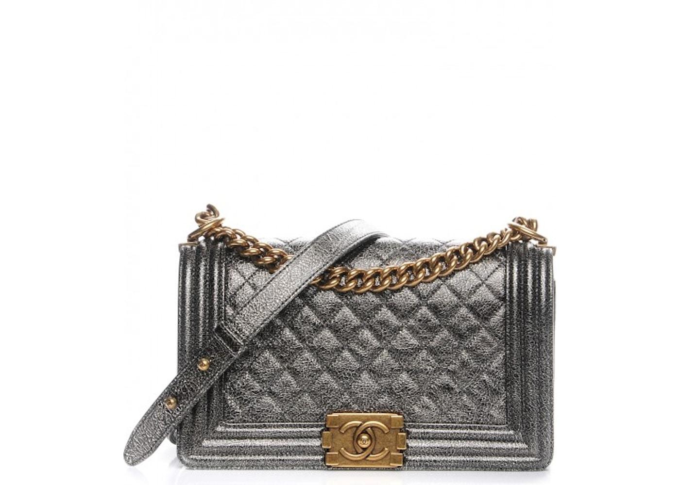 b56716bbb12904 Chanel Boy Flap Quilted Diamond Cracked Metallic Calfskin Medium ...