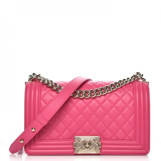 Chanel Boy Flap Quilted Diamond Medium Pink