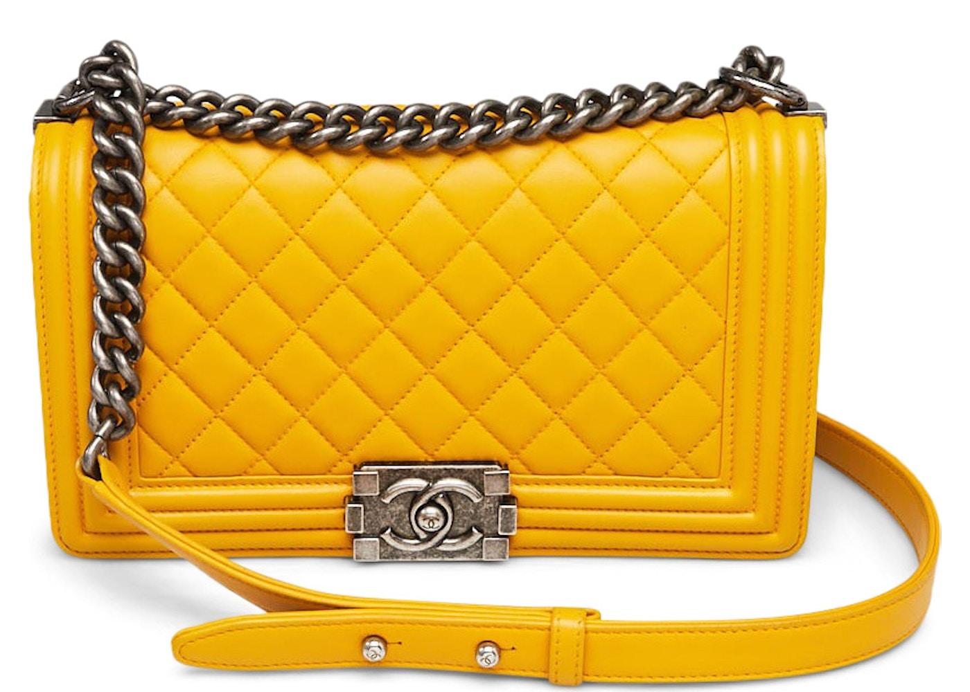 b664a936d29880 Chanel Boy Flap Quilted Diamond Medium Yellow