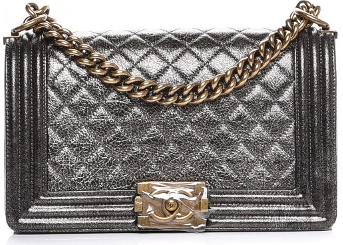 d2ef2ad7b1fb Chanel Boy Flap Quilted Diamond Metallic Medium Dark Silver. Quilted  Diamond Metallic Medium Dark Silver
