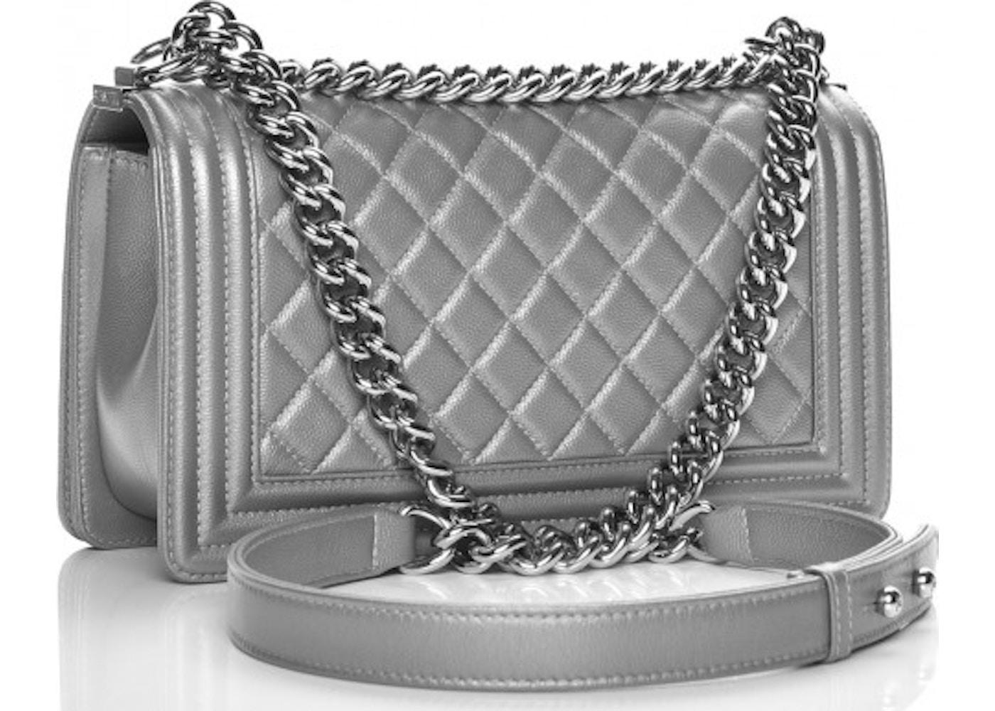 0924df6512b4 Chanel Boy Flap Diamond Quilted Metallic Medium Silver