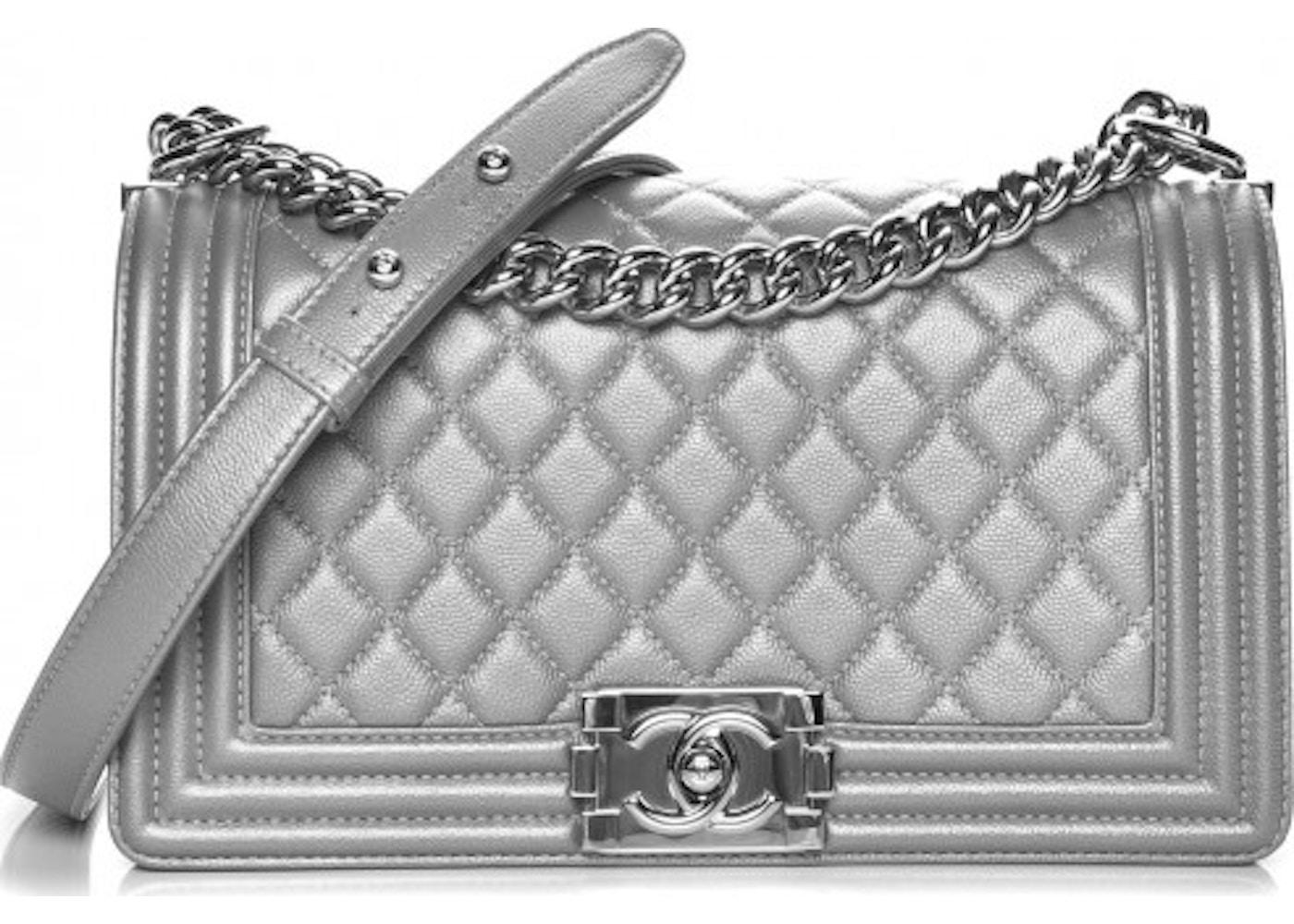 d01628272e95 Chanel Boy Flap Diamond Quilted Metallic Medium Silver. Diamond Quilted  Metallic Medium Silver