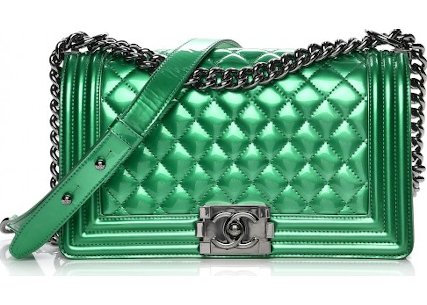 ecc078848bc0 Chanel Boy Flap Diamond Quilted Iridescent Medium Green. Diamond Quilted  Iridescent Medium Green