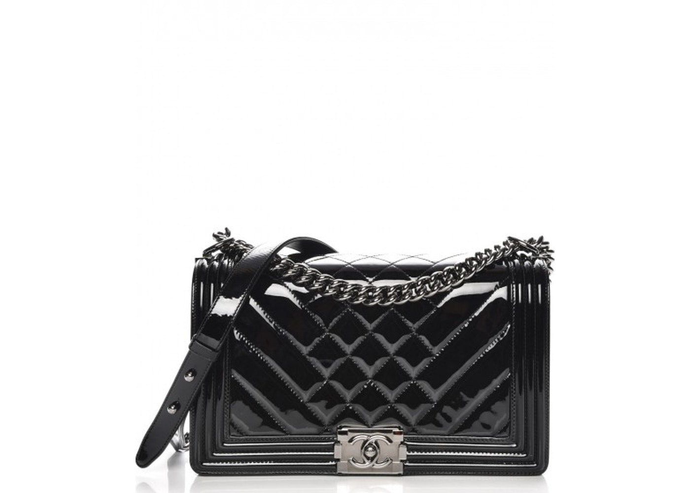26cc347b0633 Chanel Boy Flap Chevron Patent Quilted New Medium Black. Chevron Patent Quilted  New Medium Black