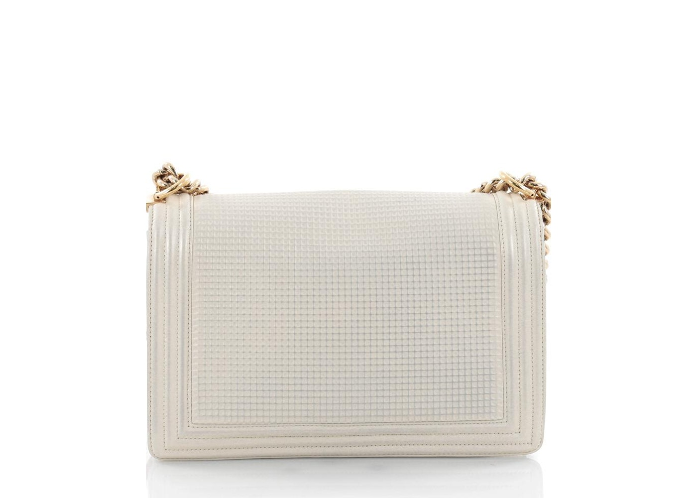 d24be6acca8afe Chanel Boy Flap Bag Cube Embossed New Medium Off White