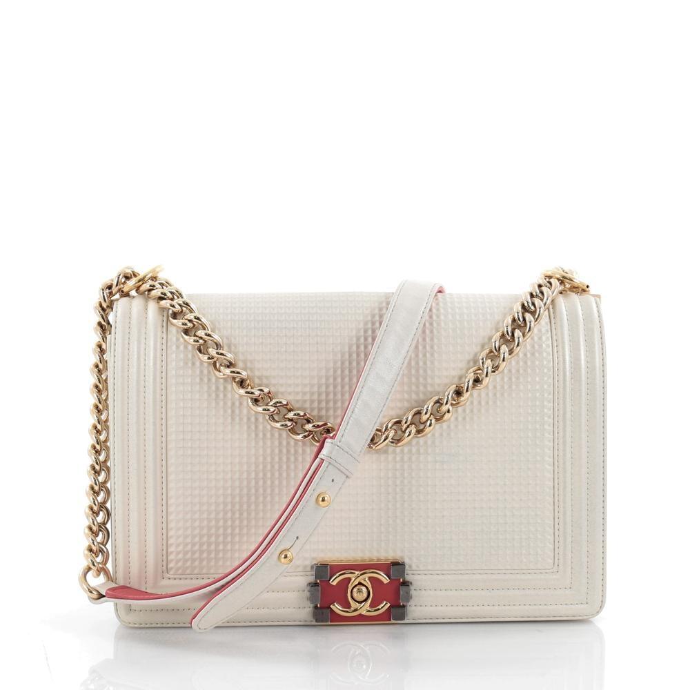 Chanel Boy Flap Bag Cube Embossed New Medium Off White