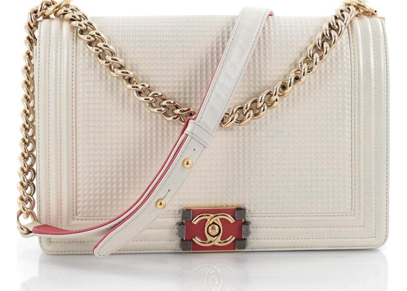 1d21c9808cea Chanel Boy Flap Bag Cube Embossed New Medium Off White