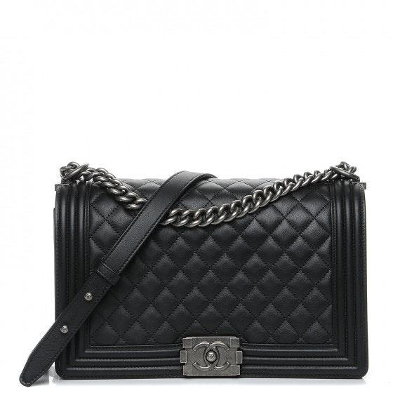 Chanel Boy Flap Quilted Diamond New Medium Black