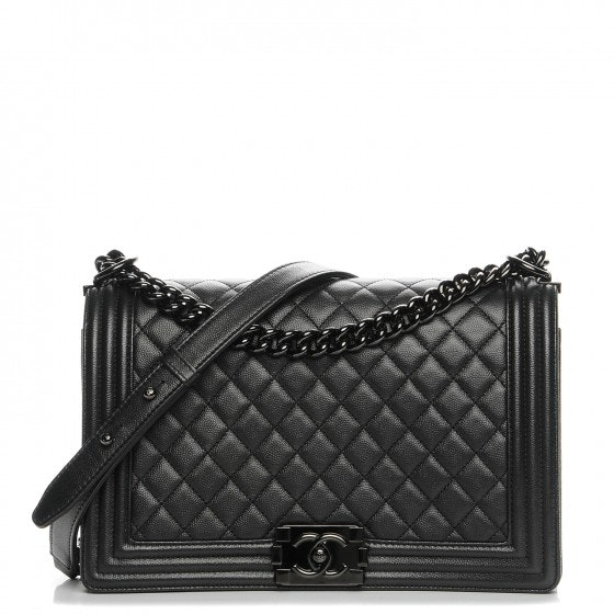Chanel Boy Flap Quilted So Black Diamond New Medium Black