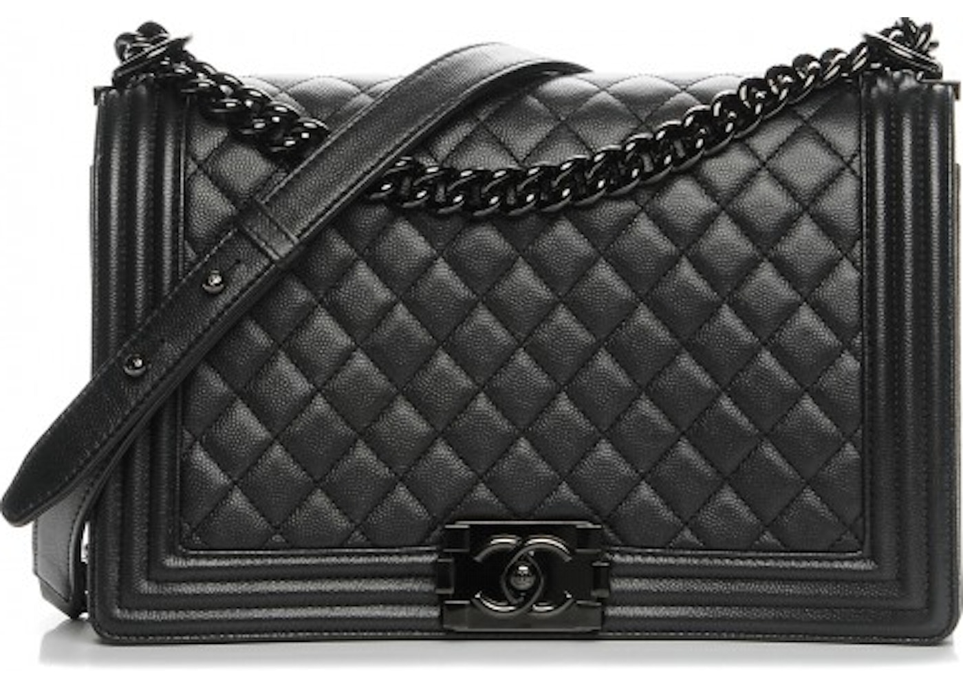 5a8ee29c6960 Chanel Boy Flap Quilted Diamond New Medium So Black. Quilted Diamond New Medium  So Black