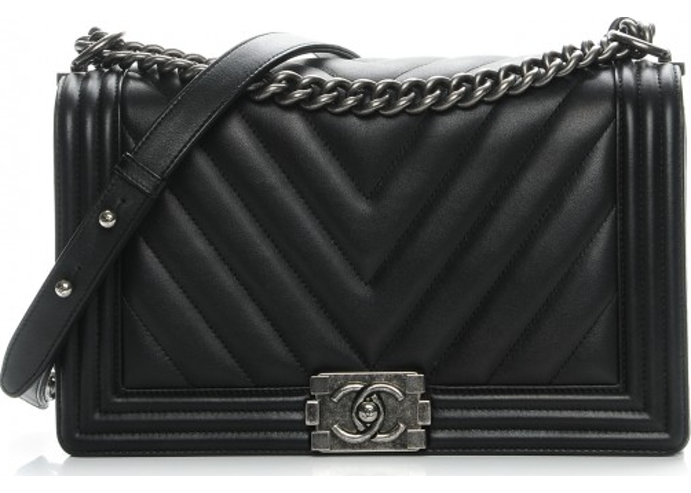 a9bcec94e781 Chanel Boy Flap Quilted Chevron New Medium Black. Quilted Chevron New  Medium Black