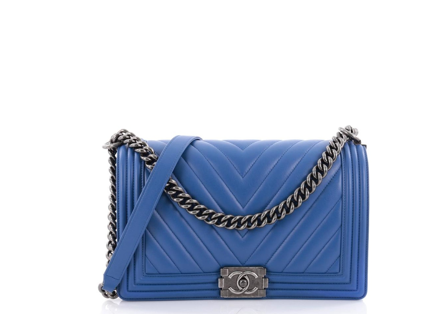 8767c4bf3193 Chanel Boy Flap Bag Quilted Chevron New Medium Blue. Quilted Chevron New  Medium Blue