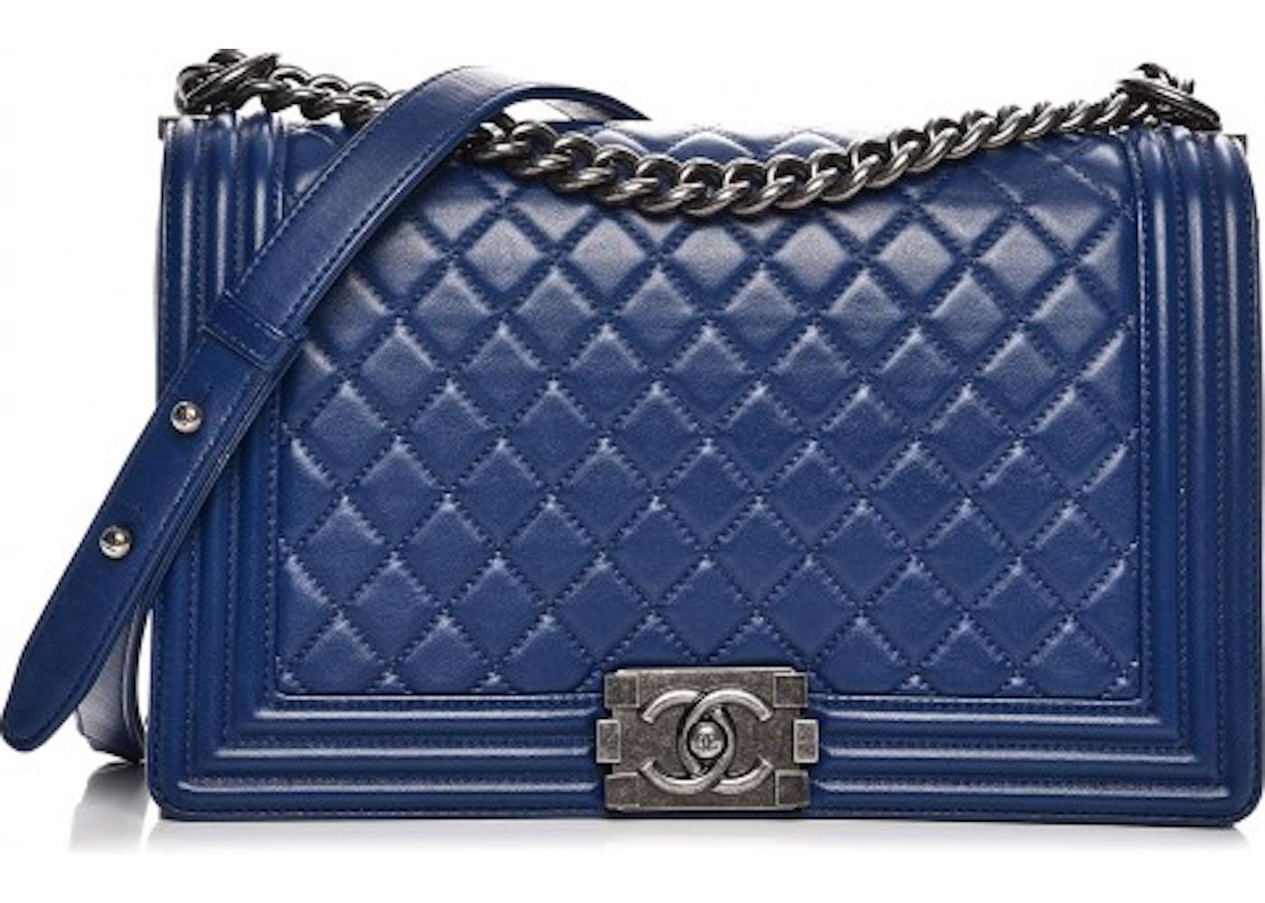 6dffaeab611a Chanel Boy Flap Diamond Quilted New Medium Dark Blue