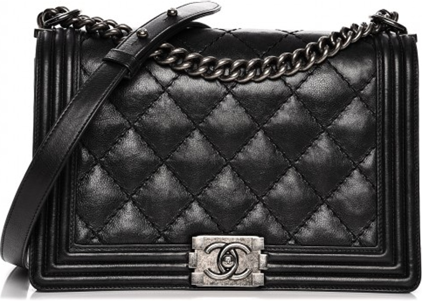 b98611af272898 Chanel Boy Flap New Medium Quilted Double Stitched Calfskin Black. New  Medium Quilted Double Stitched Calfskin Black