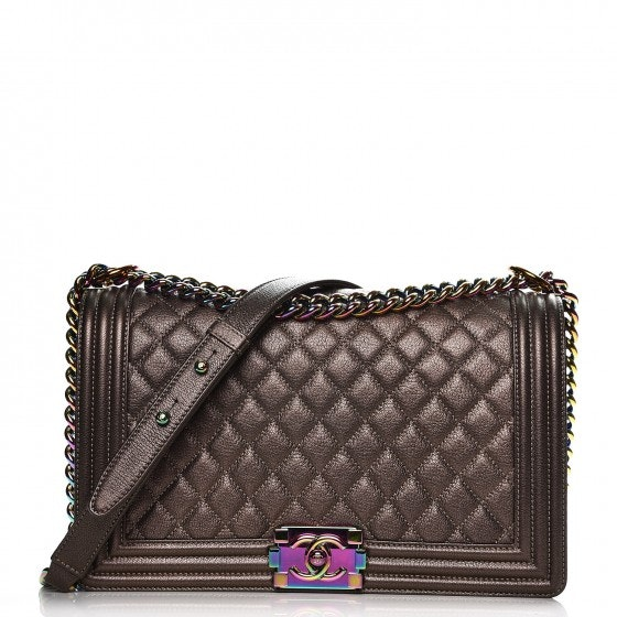 Chanel Boy Flap Diamond Quilted Iridescent New Medium Dark Gold