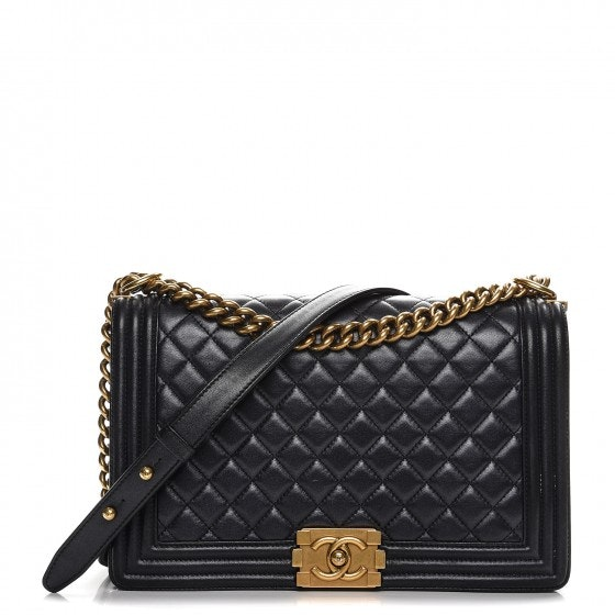 Chanel Boy Flap Quilted Diamond New Medium Pearly Black