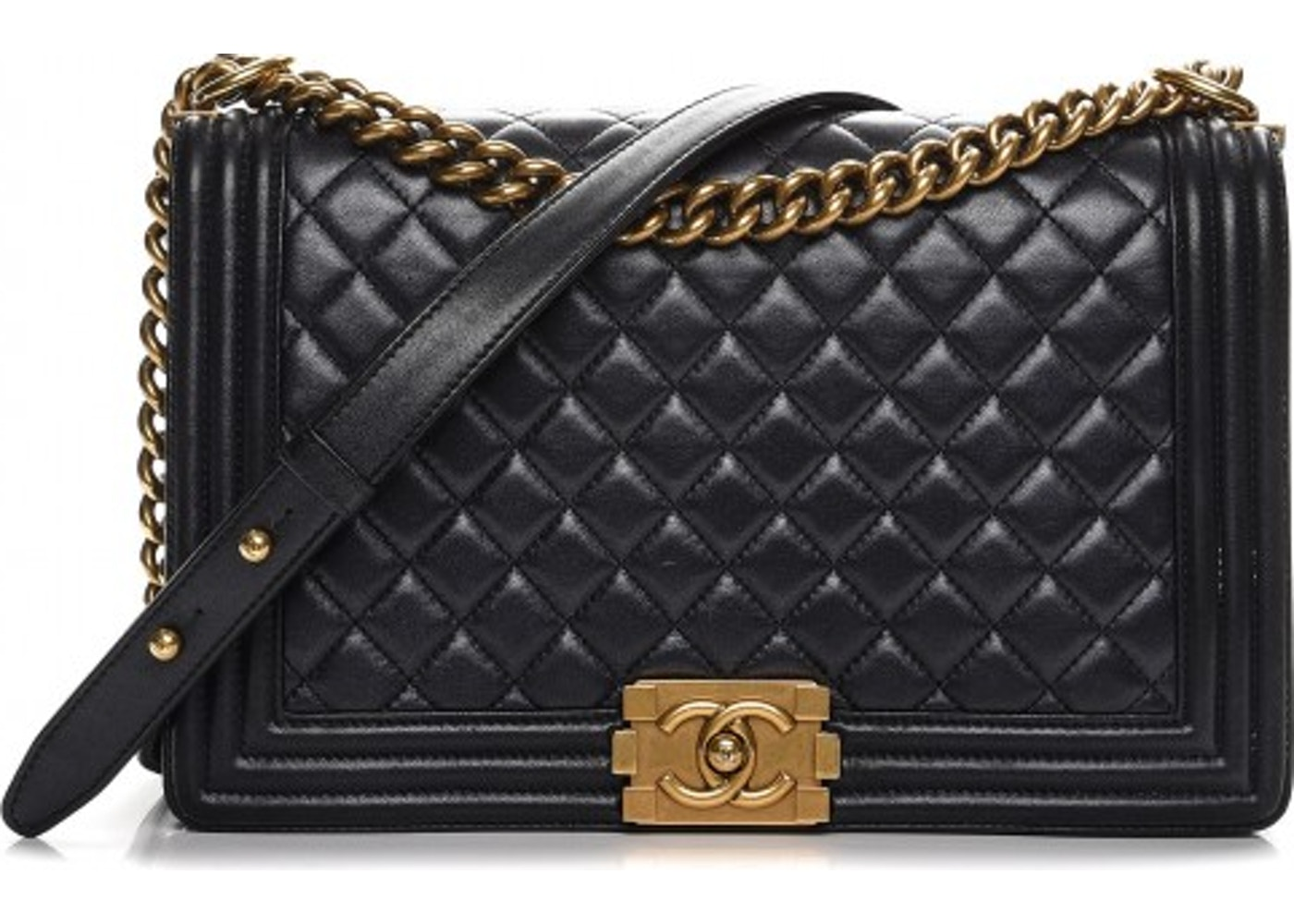 c32653d59780 Chanel Boy Flap Quilted Diamond New Medium Pearly Black
