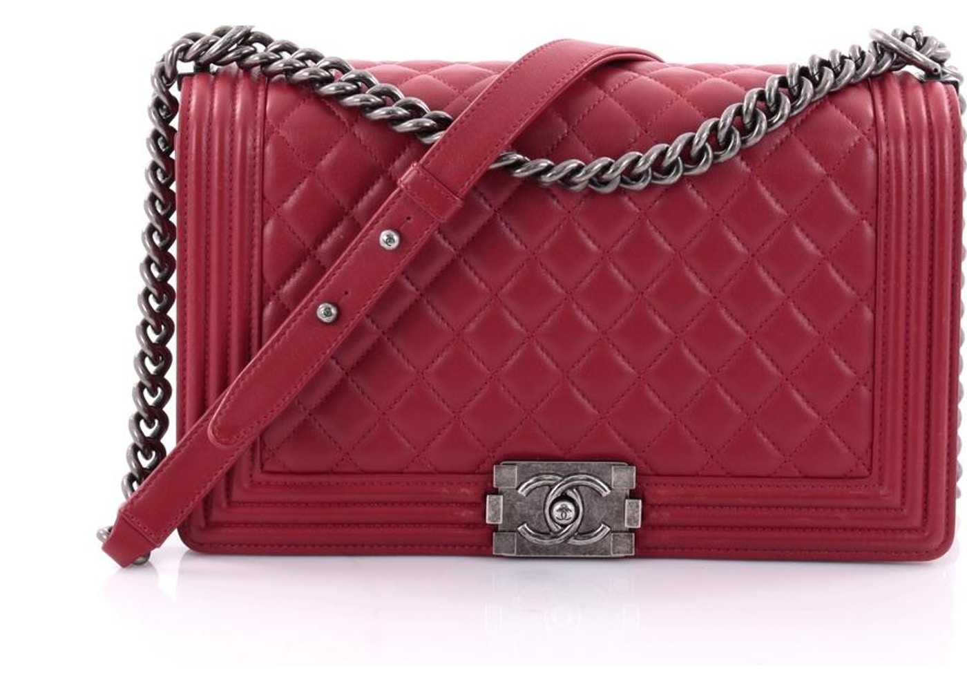0985242c473d Chanel Boy Flap Quilted Diamond New Medium Red