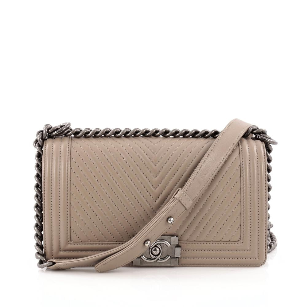 Chanel Boy Flap Bag Quilted Chevron Old Medium Taupe