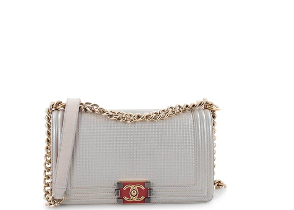 adcc3ed6faed Chanel Boy Flap Bag Cube Embossed Old Medium Pearl
